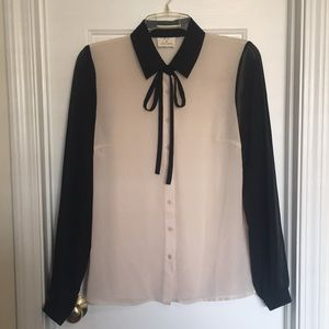 Long Bow Tie Dress Shirt - Urban Outfitters